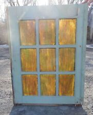 Antique Stained Slag Glass 9 Lite Window Door 39x29 Shabby Old Vtg Chic 533-18P