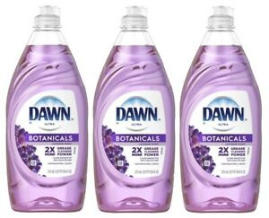 (3 Pack) Dawn Ultra Botanicals Dishwashing Liquid Dish Soap, Lavender 19.4 fl oz