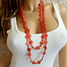 "Long Coral Gold Necklace 35"" Single Strand Flat Circular Beads"