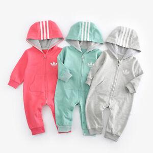 New Baby Boys Girls Hooded Zip Romper Newborn Toddler Infant Bodysuit Outfit Set
