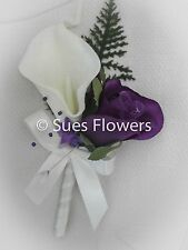 Cadburys Purple rose ivory calla Lilly Buttonholes/ Corsages
