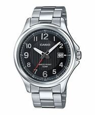 Mtp-e126d-1a Black Casio Stainless Steel Men's Watch 50m Date Display