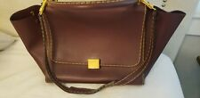 CELINE Trapeze Medium 2way Hand Shoulder Bag Leather Burgandy