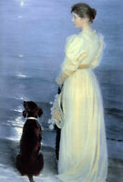 """Oil painting portraits young woman with her pet dog in moon night by the sea 36"""""""