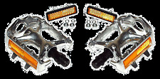 Old School Alloy Toe Clip Style Silver 9/16 Pedal Set NEW!