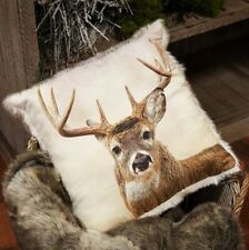 Super Soft Reindeer Faux Fur Cushion Cream Reindeer Stag Print Faux Fur Reverse