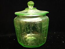 Vintage Green Depression Glass Vaseline Glass Ornate Candy Jar