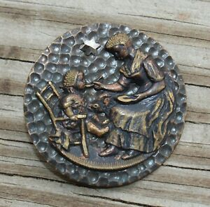 ANTIQUE Metal Picture Button MOTHER FEEDING CHILD Lot L