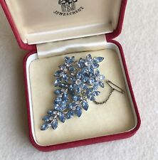 Vintage JEWELCREST Donald SIMPSON Blue CRYSTAL Rhinestone FLORAL Brooch ~ SIGNED