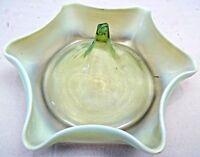 GLASS EPERGNE BASE VASELINE GREEN COLOR VINTAGE CENTERPIECE COLLECTIBLES RARE