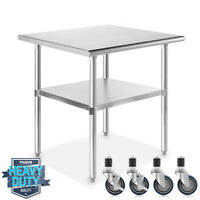 "Stainless Steel 24"" x 30"" NSF Commercial Kitchen Work Food Prep Table w/ Casters"