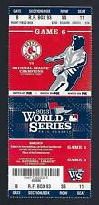 2013 WORLD SERIES CARDINALS @ RED SOX FULL UNUSED BASEBALL TICKET GAME #6 MINT