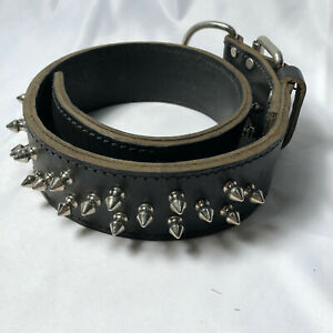 "Heavy Duty Leather Spike Dog Collar Pitbull Rottweiler Large 22"" - 25"" neck"