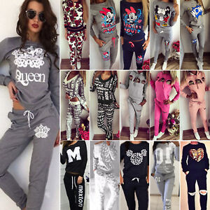Women Tracksuit Hooded Sweatshirt Joggers Running Sweatpants Sports Co-ord Suit