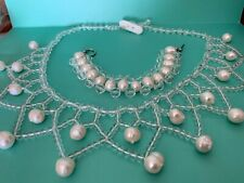 Real Genuine Large Pearl & Quartz Statement Collar Necklace Bracelet Set OOAK