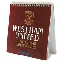 West Ham United FC Official Desktop Easel Calendar 2021 Christmas Gift Santa