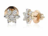 Pave 1 Cts Rond Brillante Couper Diamants Clous Boucles d'oreilles En 750 18K Or