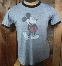 vintage 70s MICKEY MOUSE Black Grey DISTRESSED RINGER PAPER THIN t-shirt L large
