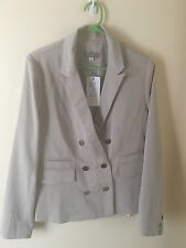 TEMT Jacket Dressy Double Breasted Beige Cream Blazer Size 12 Gold Buttons BNWT