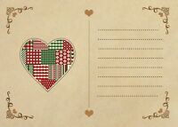 Vintage Style Heart Postcards - Pack Of 20 With Brown Ribbed Kraft Envelopes