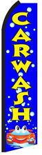 CAR WASH Blue Bubbles Flutter Flag Tall Vertical Feather Bow Swooper Banner Sign