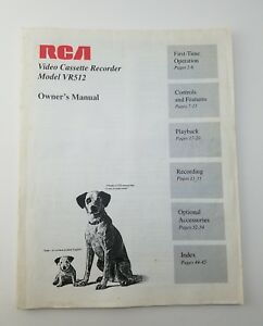 RCA VHS VCR Video Cassette Recorder Manual Owner's Manual VR512