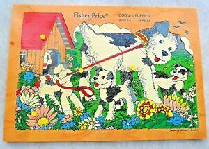 Vintage Fisher Price Dog & Puppies Pick Up Peg & Peek Wood 10 Pc Puzzle 2713