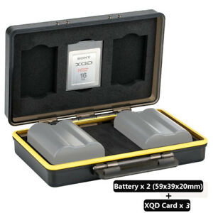 JJC 2 Camera Battery& 3 XQD Card Storage Case Holder f Canon Fujifilm Sony Nikon