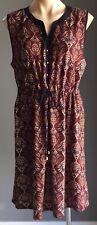 Retro SUITE BOUTIQUE Multi Colour Baroque Print Sleeveless Blouson Dress Size 16