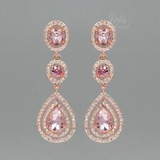ROSE GOLD Plated Pink Crystal Rhinestone Wedding Drop Dangle Earrings 9358 Party