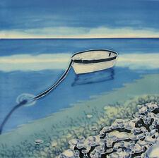 "Rocky Shore Bathroom Ceramic Picture Tile Wall Plaque Sea Boats 8x8"" NEW 05478"