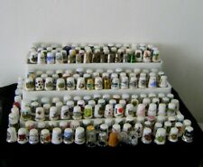 JOB LOT of 189 THIMBLES - GLASS, NICKEL SILVER, WOOD, PEWTER, BONE CHINA - vgc