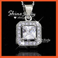 18K WHITE GOLD GF SILVER 1.2CT SQUARE LAB DIAMOND WEDDING NECKLACE PENDANT GIFT