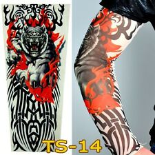 Tiger Flames Tribal Elastic  Full Arm  Sleeve Tattoo Design