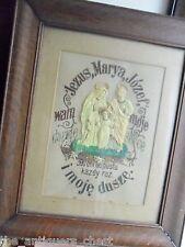 """Needle point framed work """"Jesus, Marya, Jozef"""" Polish work, with bakelite?images"""