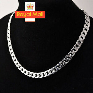 Men 925 20 inch sterling Thick Silver solid Men Curb Chain Necklace Hip Hop Rock