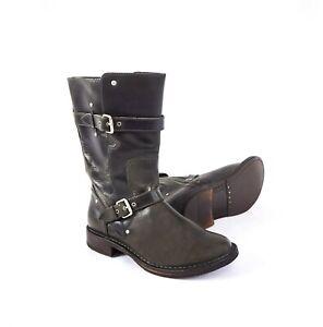 UGG Gillespie Women's 7 Leather Mid-Calf Buckle Moto Biker Combat Boots