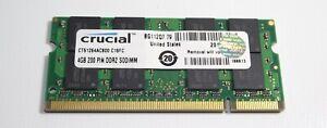 Single piece 4gb PC2-6400 laptop SODIMM RAM Crucial CT51264AC800 1mo warranty