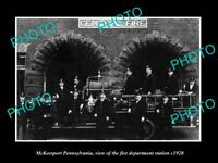 OLD LARGE HISTORIC PHOTO OF McKEESPORT PENNSYLVANIA, THE FIRE STATION c1920