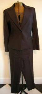 TALBOTS chocolate brown suit pants jacket 2PC 10P lined wool blend work nation