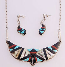 Handmade Sterling Necklace with Multi-Stone Inlay Native American Zuni