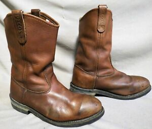 MENS VINTAGE RED WING PECOS BROWN LEATHER STEEL TOE HIKING WORK BOOTS SZ 10.5 D