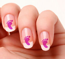 20 Nail Art Stickers Transfers Decals #875 - Baby footprint pink its a girl.