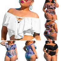 Plus Size Women Ruffle Off Shoulder Tankini Set High Waist Swimsuit Swimwear 5XL