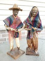 Vintage Mexican Paper Mache Figure Man & Woman Peasant Farmer Folk Art  - Large