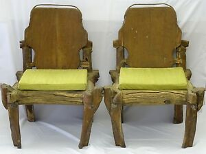 PAIR of ICONIC P. MOHANTA  ART STUDIO WOOD & HAND FORGED METAL SCULPTURAL CHAIRS