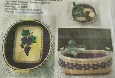 Basket Weaving Pattern Double Walled Tray with Hanging Grapes by Sharon Klusmann