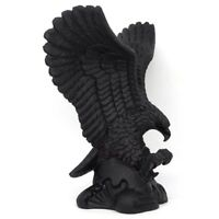 Eagle Statue Natural Black Obsidian Gemstone Crystal Healing Reiki Home Decor