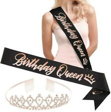 Birthday Queen Sash & Tiara Black & Rose Gold Foil For Teens and Woman!
