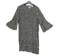 H&M GP & J Baker Size Eur 34 UK 6-8 Black & White 3/4 Sleeve Lightweight Dress